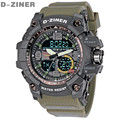 D-ZINER Fashion Men Watches Top Brand Luxury Quartz LED Digital Watch Men Military Sports Watches Waterproof Relogio Masculino