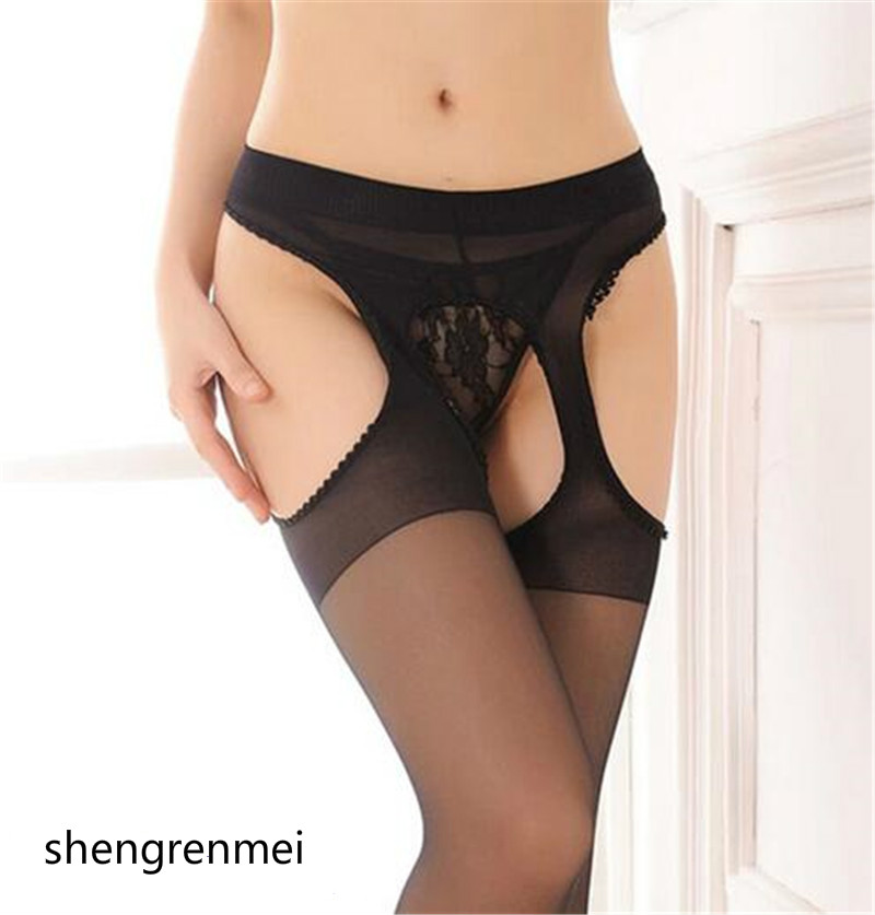 shengrenmei New Womens Pierced Nonslip Convenient Thigh High Stockings Racy Pantyhose Sexy Open Crotch Stocking  (Color: Black)