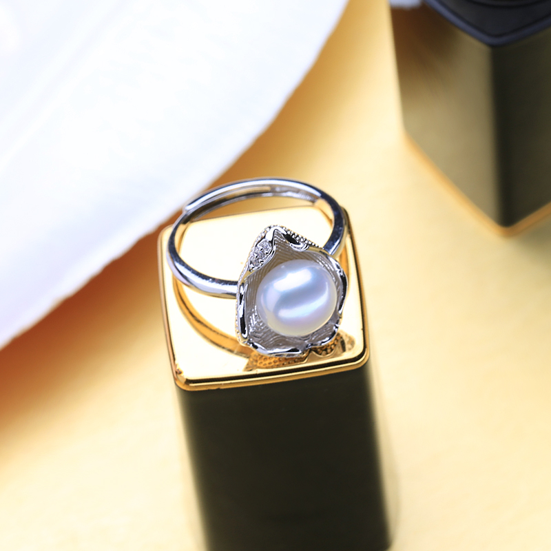 FENASY Freshwater Pearl Rings Boho Shell Shape 925 Sterling Silver Vintage Ring For Women Wave Jewelry CZ Cubic Zirconia Ring