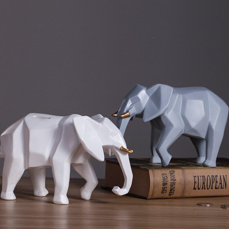 Creative africain éléphant résine tirelire personnalité géométrie art décoration de la maison coin tirelire