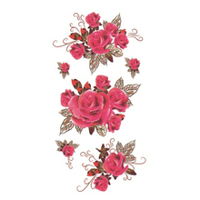 Wyuen Hot Waterproof Temporary Tattoo Stickers For Adults Kids Body Art Red Rose P-035 Fake Tatoo For Man Woman Tattoos