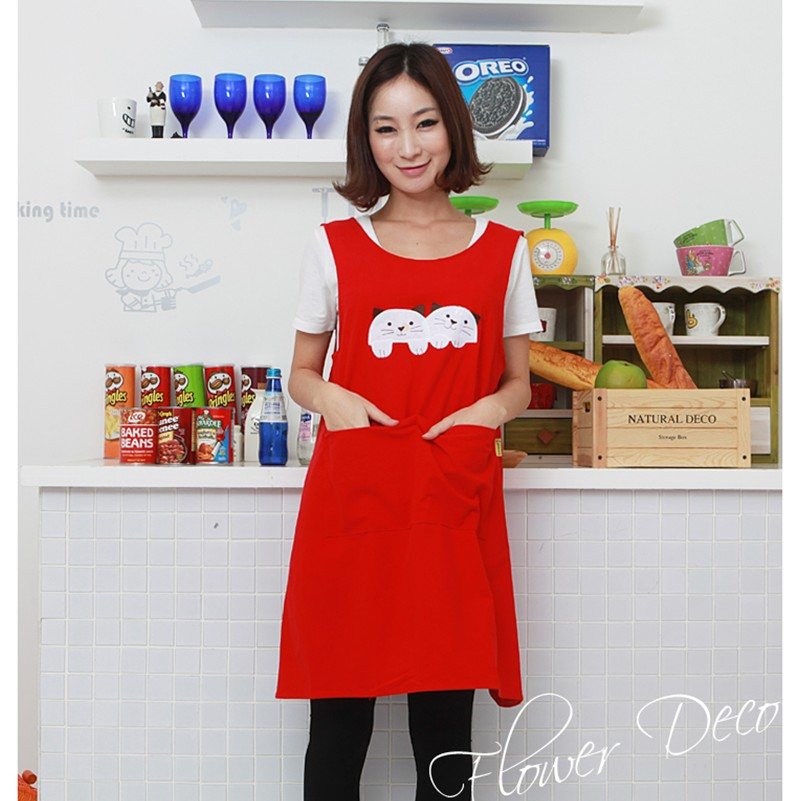 Hot försäljning mode söt katt spik butik kaffekammareallonger för kvinna kök bakning förkläden 4 färger tryck logotyp