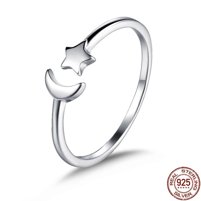 2019 New Minimalist Opening Moon Star Sterling 925 Silver Rings For Girl Midi Knuckle Rings For Women Silver Jewelry Gift image