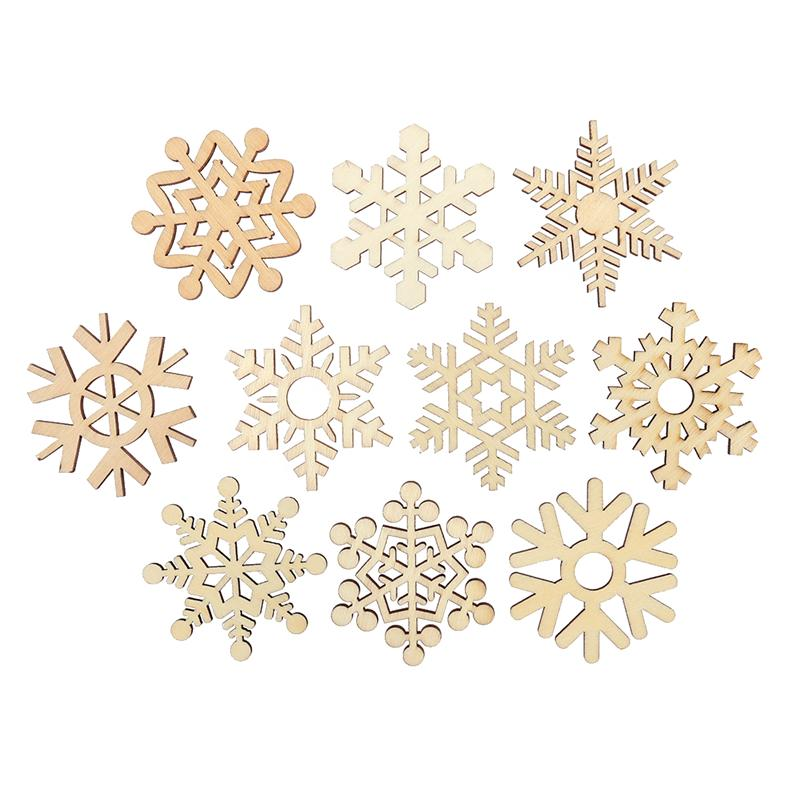 10pcs Laser Cut Wooden Snowflake Cutouts Craft Embellishment Gift Tag Wood Ornament For Weding Christmas DIY Decoration A3