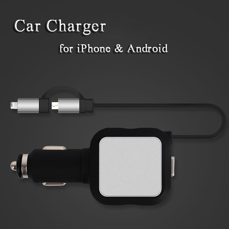Brand New Car Charger for iPhone 7 Plus 2 USB Charging Cable for iPhone 6 6S Phone Charger Retractable Wire for Samsung Android