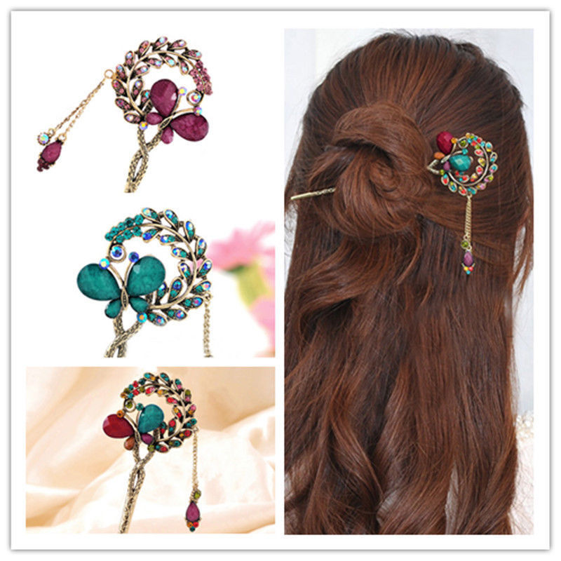 Women Lady Retro Crystal Butterfly Flower Chinese Hairpin Hair Stick Hair Clip