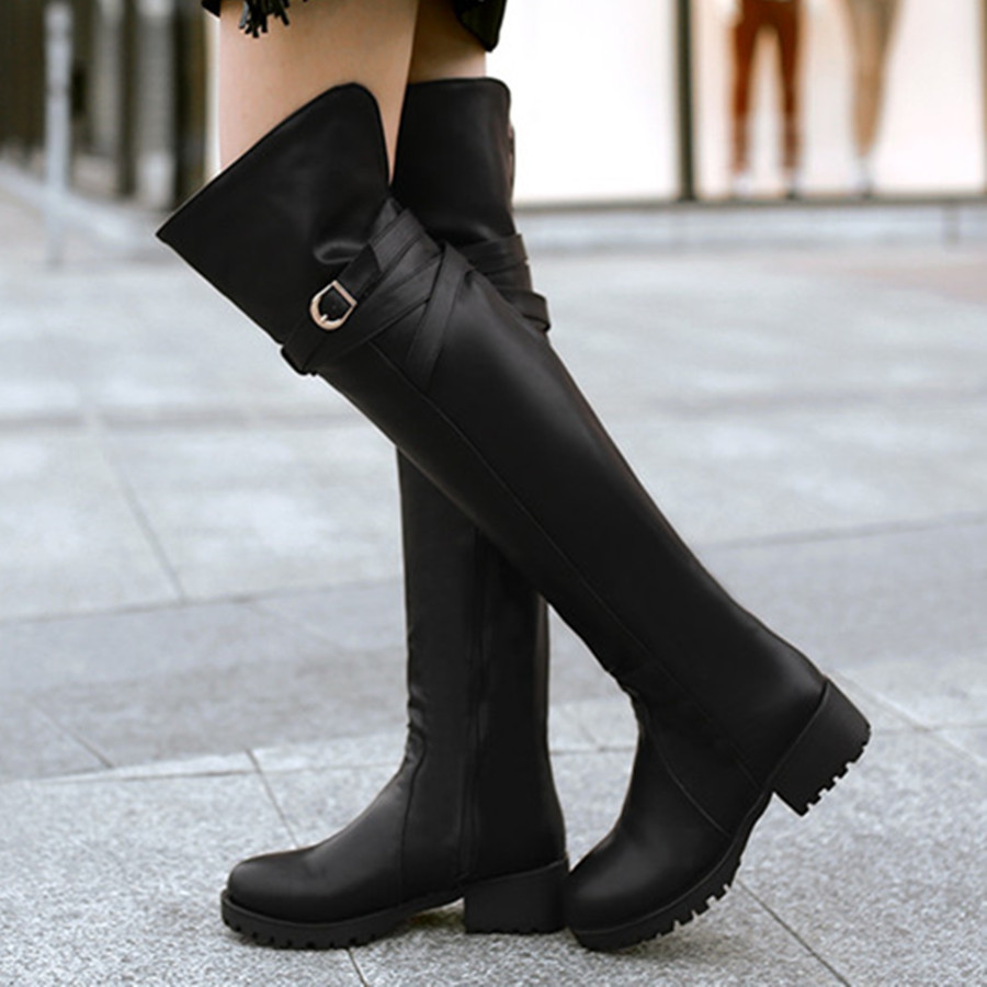 Aliexpress.com : Buy thigh high boots for plus size women low heel ...