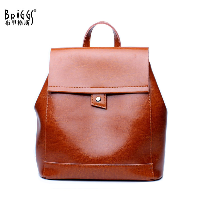 BRIGGS Preppy Style Genuine Leather Women Backpack Vintage School Backpack For Teenagers Girls Brand Designer Women Bags 2017 women leather backpack designer preppy style school bags for teenagers girl s travel bag vintage backpacks mochilas escolar