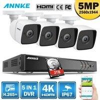 ANNKE 8CH 5MP Ультра HD CCTV камера система 5в1 H.265 + DVR с 4 шт. 5MP TVI Всепогодная белая система видеонаблюдения