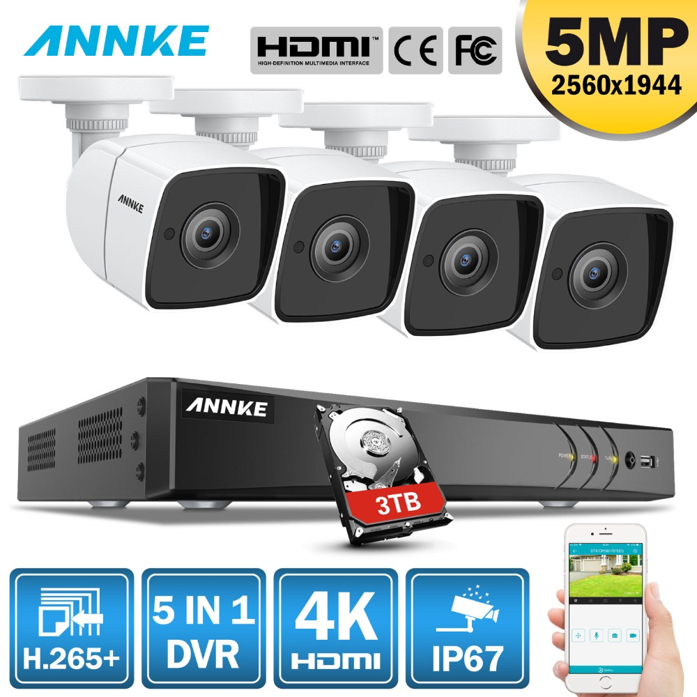 ANNKE 8CH 5MP Ultra HD CCTV Camera System 5IN1 H.265+ DVR With 4PCS 5MP TVI Weatherproof White Security Surveillance SystemANNKE 8CH 5MP Ultra HD CCTV Camera System 5IN1 H.265+ DVR With 4PCS 5MP TVI Weatherproof White Security Surveillance System