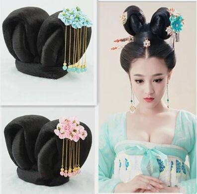 qadınlar üçün qədim Çin saçları tang sülaləsi cosplay saç - Karnaval kostyumlar - Fotoqrafiya 2