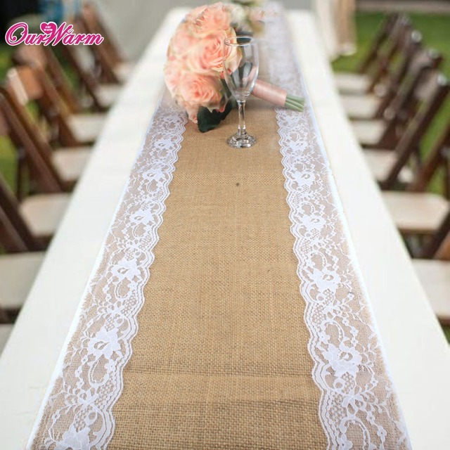 Brand New Burlap Table Runners With Lace Fabric Vintage Table Runners For  Wedding Party Table Decorations