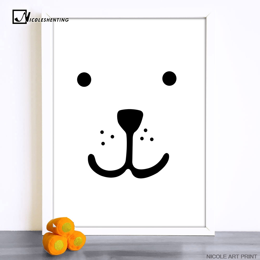 Dog Smile Face Minimalist Art Canvas Poster Print Kawaii