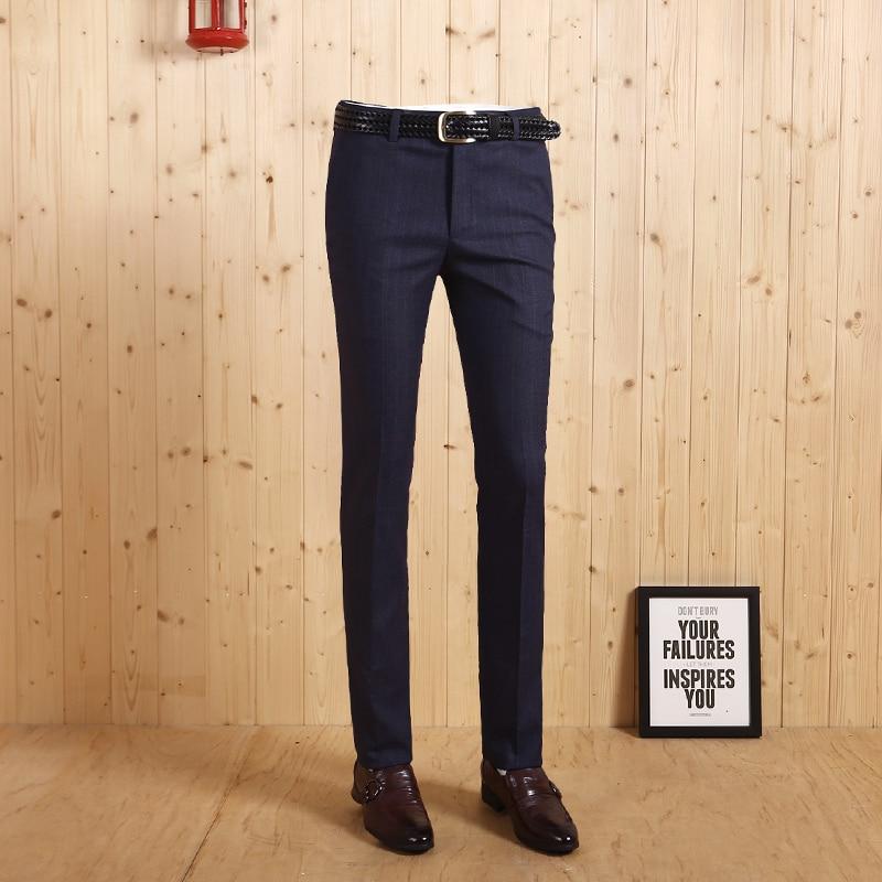 High Quality 2017 Men Autumn Winter Fashion Blue Stripe England Style Super Slim Suits Long Pants Business Wedding Groom Pant