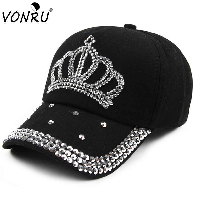 VONRU Brand New Crown Rhinestone Baseball Caps Fashion Jean Hat Hip Hop Women  Denim Baseball Cap 844995cee31c