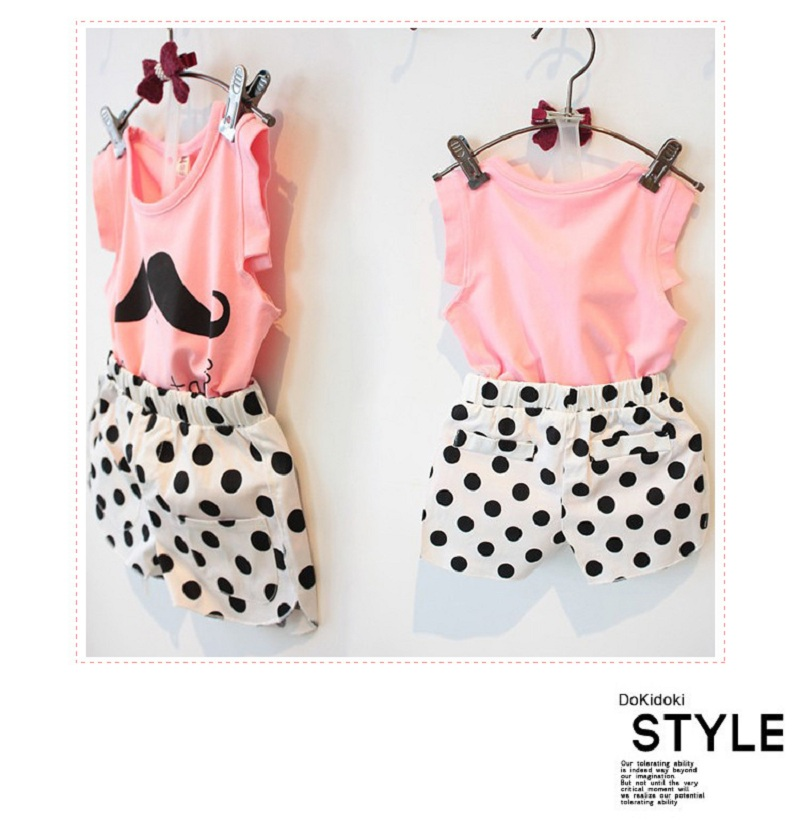 8ef6927979c9 2 8 Years Baby Girls Clothing Set Summer Sleeveless T shirt+Polka ...
