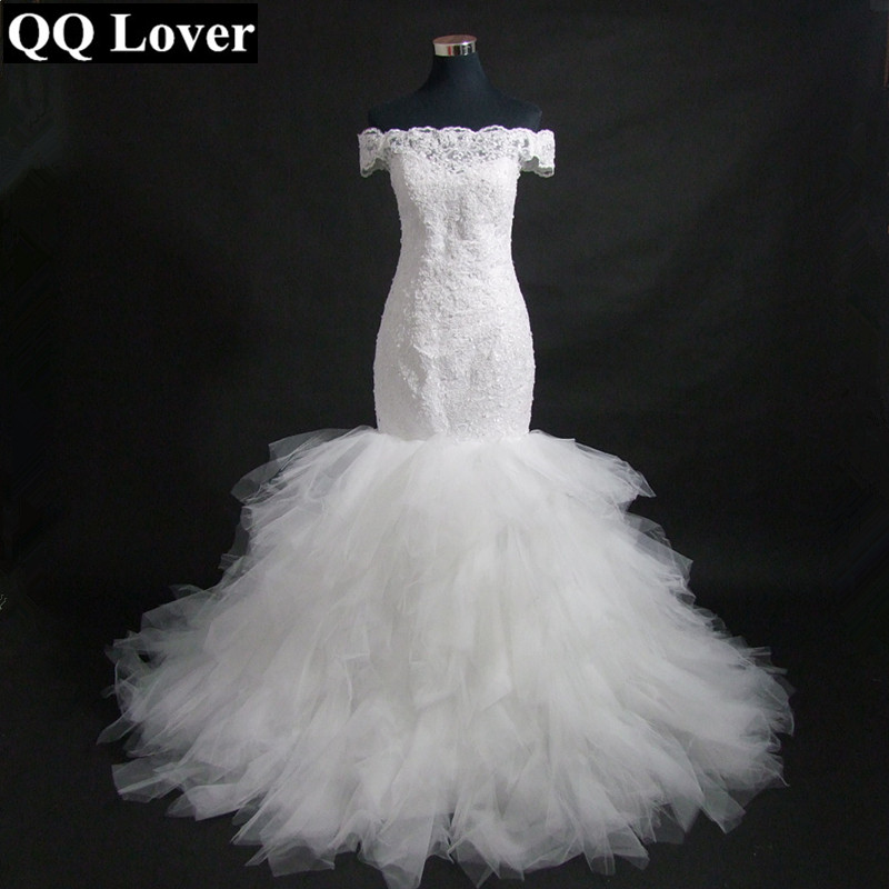 QQ Lover 2018 New Arrival Off Shoulder Mermaid Wedding Dresses African Wedding Gown