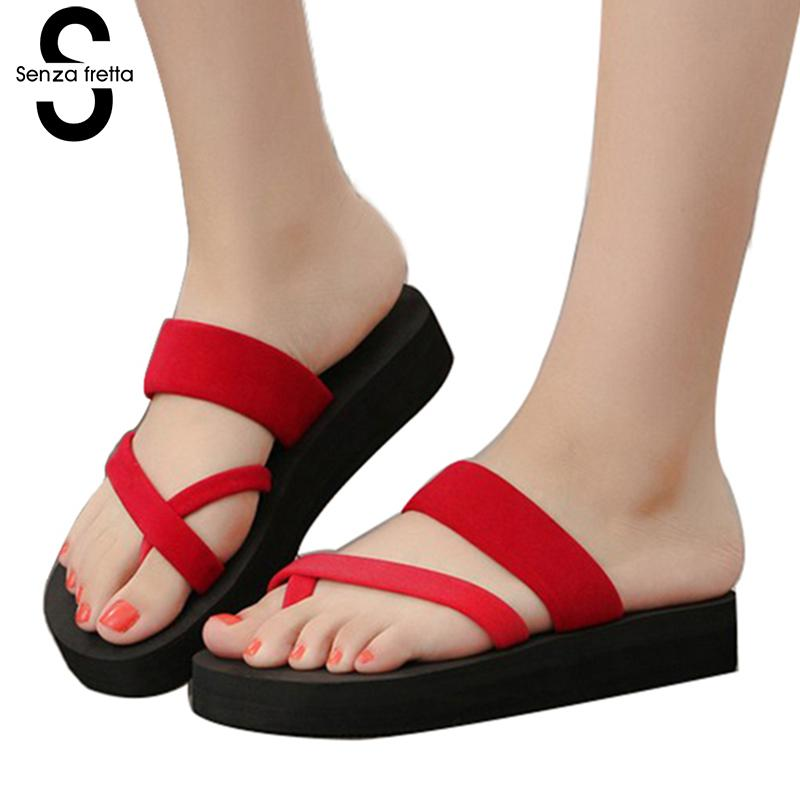 Senza Fretta Women Shoes Flip Flops Beach Slippers Sandals Summer Fashion Slippers Women Flip Flops Shoes Woman Mid Heel Sandals senza fretta men shoes flip flops beach sandals casual summer eva slippers shoes men casual non slip sandals flip flops shoes
