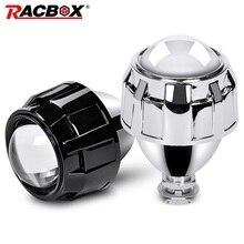 RACBOX Car Styling 2.5 inch HID Bi xeno Del Faro Mini Lente Del Proiettore Retrofit H4 H7 Faro Lenti Nero Argento Uso h1 Lampadina