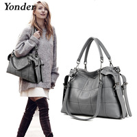 Yonder brand genuine leather handbags women's shoulder bags female messenger bag large capacity ladies casual tote bag black/red