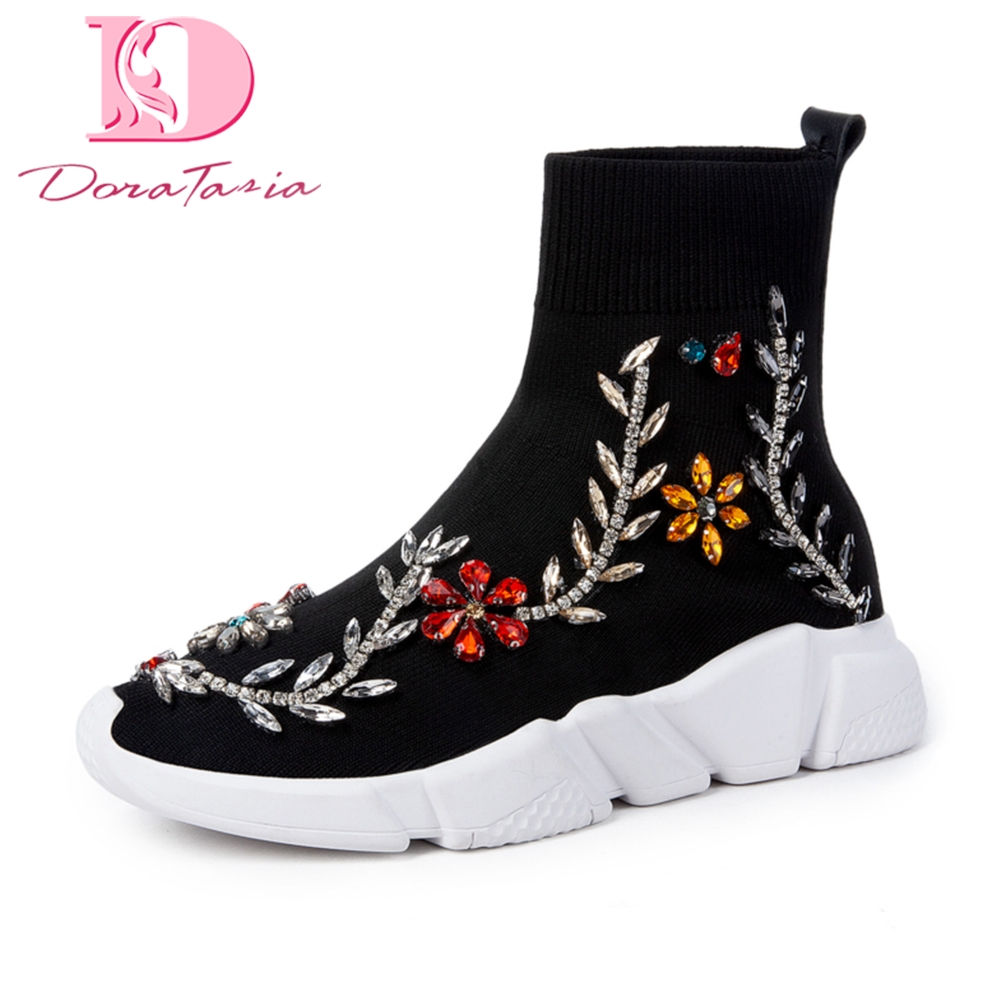Doratasia Brand NEW Dropship Embroidered Hot Sale sneakers knitting Winter Boots Woman Shoes Fashion Ankle Boots
