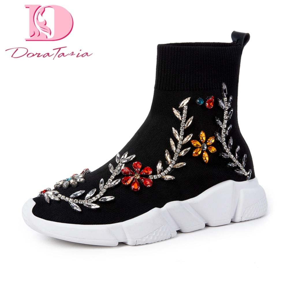 Ayakk.'ten Ayak Bileği Çizmeler'de Doratasia Marka YENI Dropship Işlemeli Sıcak Satış sneakers örgü Kışlık Botlar Kadın Ayakkabı Moda yarım çizmeler Ayakkabı Kadın'da  Grup 1