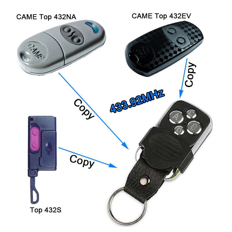 Universal 4CH 433.92 Mhz Copy CAME TOP432NA TOP434NA Remote Control Duplicator With Battery For Garage Door Gate 433mhz Key Fob