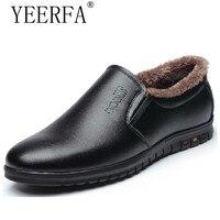 YIERFA New Men PU Leather Slip On Business Dress Shoes Male Winter Warm Fur Plush Comfort