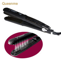 Queenme Steam Flat Iron Tourmaline Ceramic Vapor Professional Argan Oil Steam Hair Straightener Infusion Straightening Irons