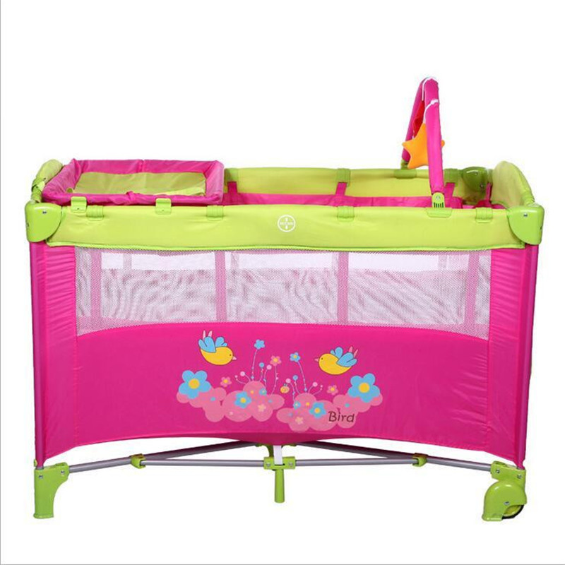 Bird Flower Pattern Baby Bed Cribs Diaper Changing Stations Portable Foldable Playpen Crib Child Alloy Double Folding Cot  Toys new style multifunctional infant crib casters mosquito nets cot playpen portable safety folding baby cribs