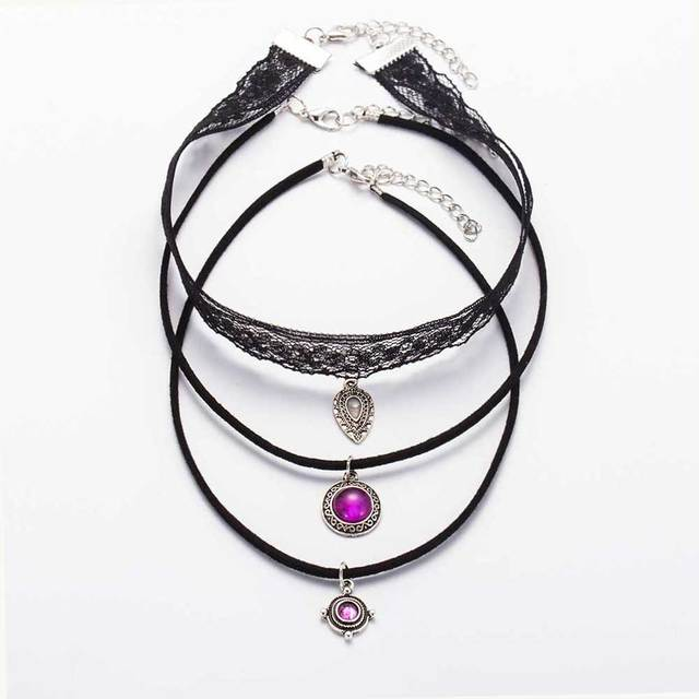 3 Pcs / Set 2017 New Arrival Unique Vintage Silver Lace Necklace Fashion Brand M