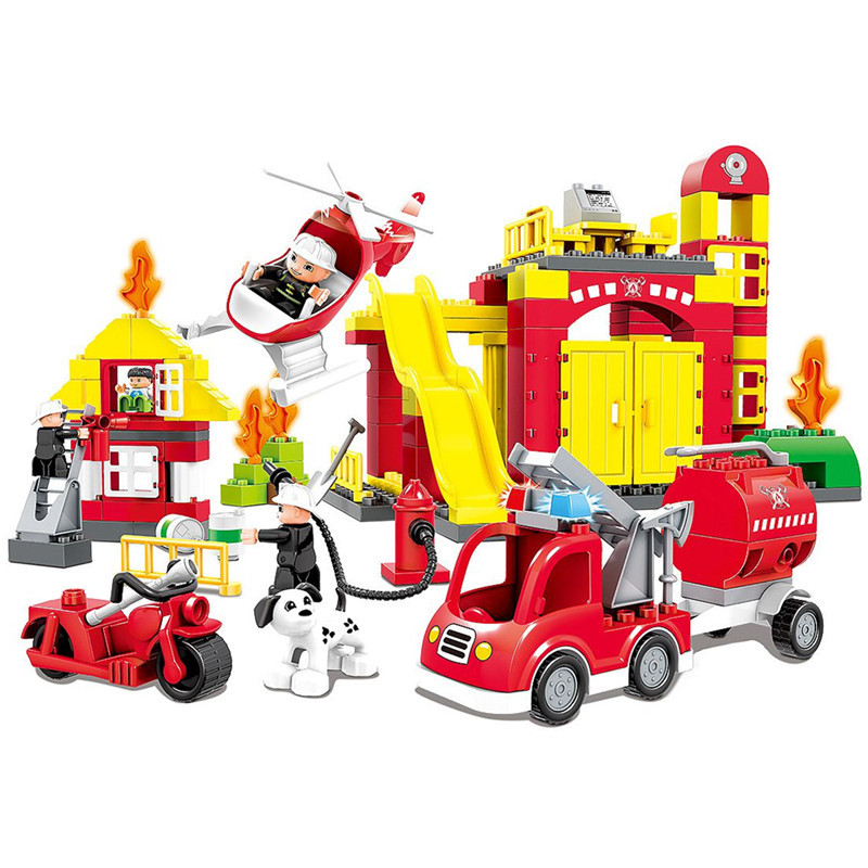 Large Fire Station Car Firefighter Truck Big Blocks Compatible With DUPLO Enlighten Bricks Building Toys For Kids 2-6Y kazi fire department station fire truck helicopter building blocks toy bricks model brinquedos toys for kids 6 ages 774pcs 8051