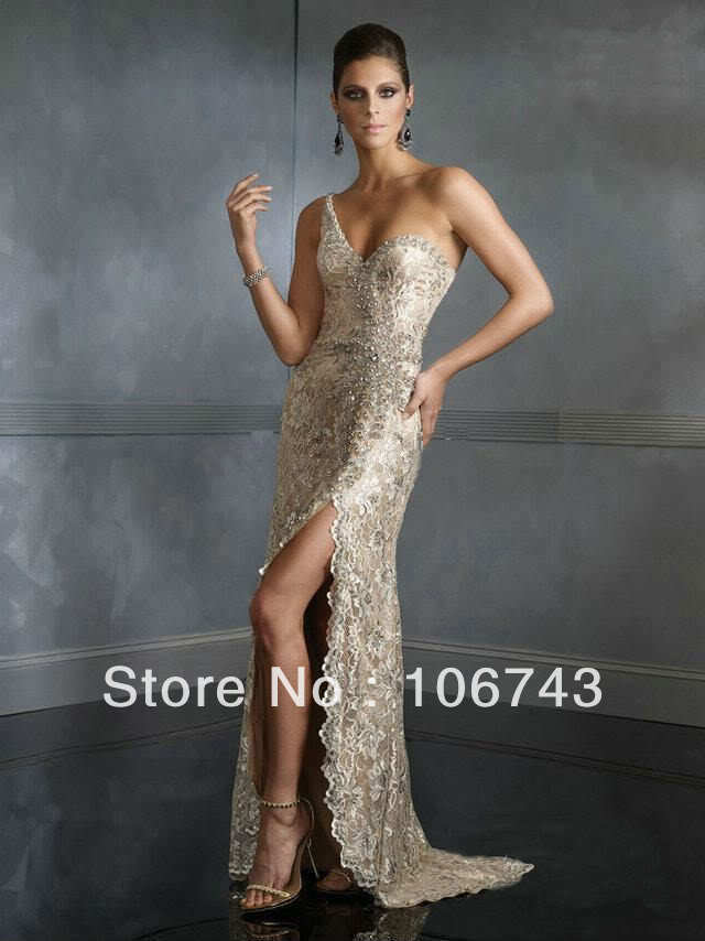 free shipping 2016 new style Sexy vestidos formales long bride wedding Custom beading one shoulder maxi   dress   lace   prom     dress