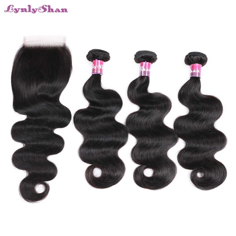 Lynlyshan Hair Indian Body Wave Human Hair 3 Bundles  With Closure 4*4 Free Part 4pcs/lot Remy Hair Extension Natural Color