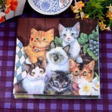 Happy Cat Pet Party Paper Napkin For Girl Festive & Para Festas Tissue Decoration Servilleta 33cm*33cm 20pcs/pack/lot(China)