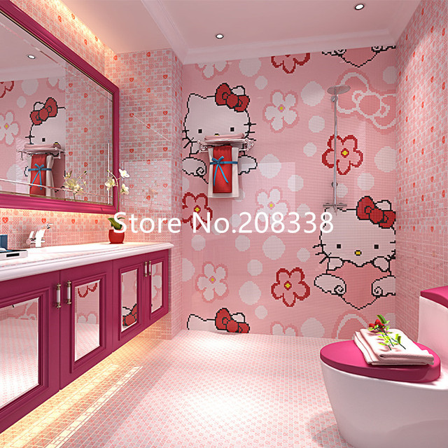 Pinky Cute Hello Kitty Glass Mosaic Tile Art Wall Mural in Wall