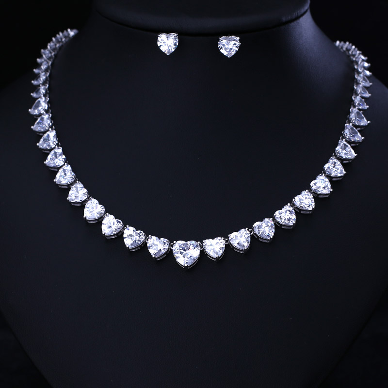 LUXURY BEST QUALITY BRILLIANT CRYSTAL ZIRCON DROP EARRINGS AND NECKLACE DINNER JEWELRY SET WEDDING DRESS ACCESSARIES