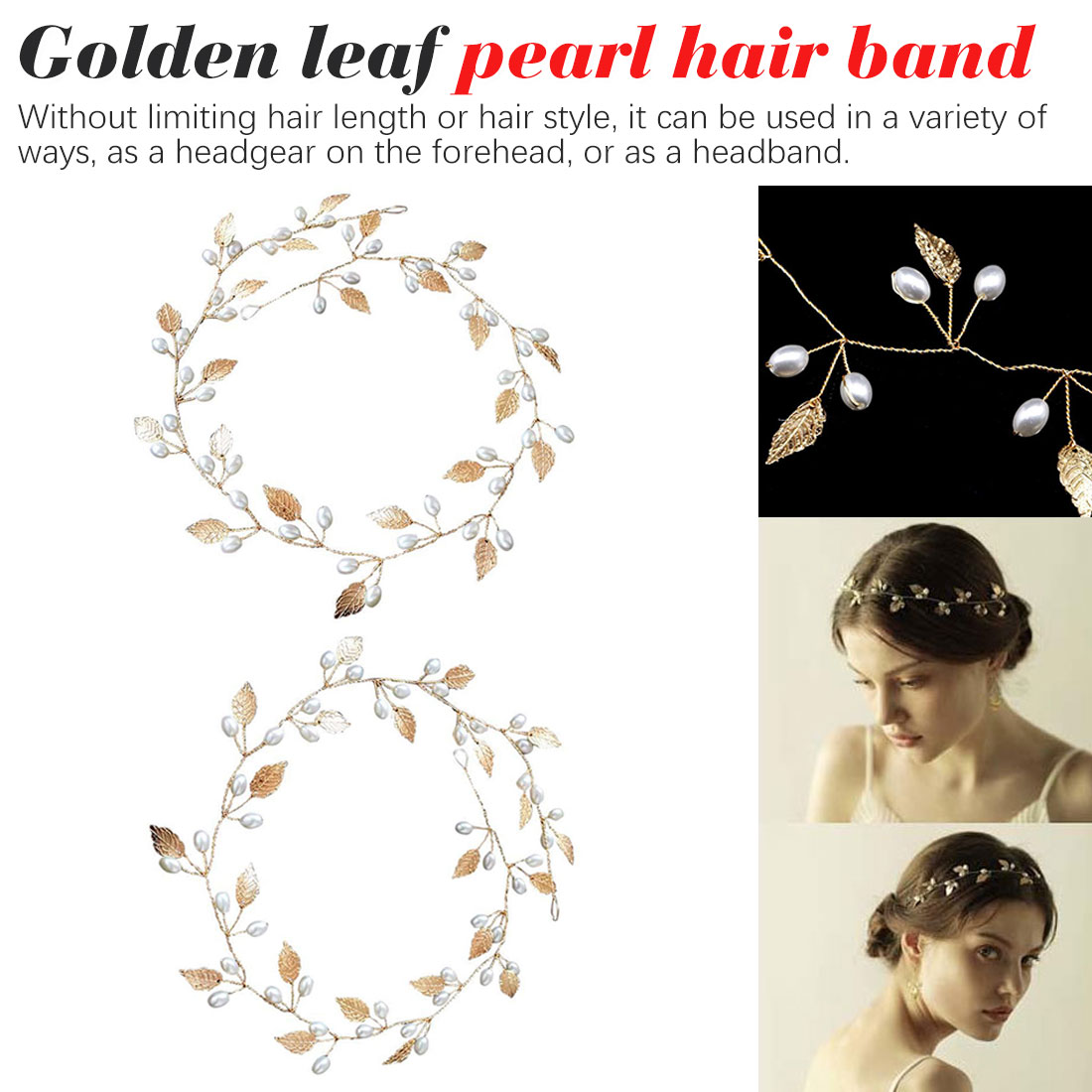 Gold Silver Headbands Hair Jewelry Pearl Crystal Leaf Bride Tiaras Headpiece Wedding Bridal Hair Accessories Gift