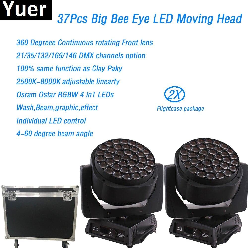 2Pcs/Lot Flightcase RGBW 4in1 led moving head light 37x15w led clay paky A.leda B EYE K20 dmx512 wash beam dj disco stage light