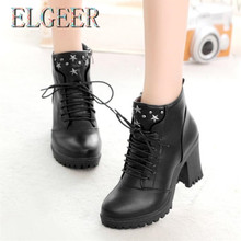 Womens Shoes 2018 New High-heeled Thick & Round English Vulcanize