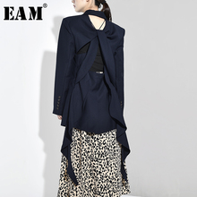 [EAM] Loose Fit Blue Backless Irregular Ribbon Jacket New Lapel Long Sleeve Women Coat Fashion Tide Autumn Winter 2019 WH520
