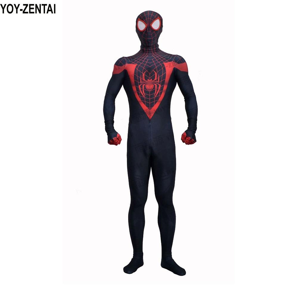 YOY-ZENTAI Top Quality 3D Print Miles Morales Spiderman Zentai Suit Miles Spiderman Costume Morales Spiderman Cosplay Costume miles morales