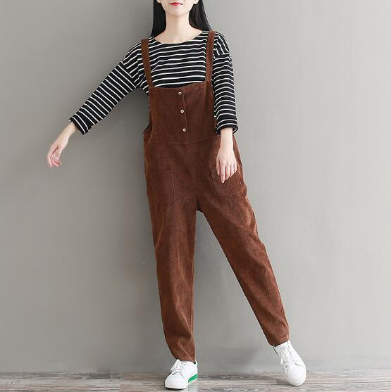 1cd62cedd6a5 Plus Size Womens Suspenders Corduroy Jumpsuit 2018 Spring Autumn Jumpsuits  Women Pure Color Trousers Overalls for Female AAV1