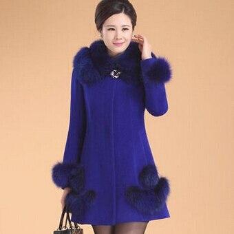 Col Femmes Hiver Mère Manteau Automne bleu rouge Laine Survêtement Vêtements Fourrure Et De Noir 1q8B1Hw