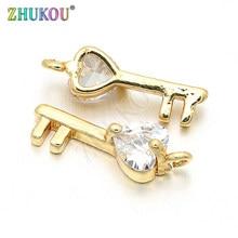 Clé en laiton zircone cubique, 5x16mm, avec breloques d'amour en cristal, accessoires pour découvertes bijoux à bricoler soi-même, modèle VD128