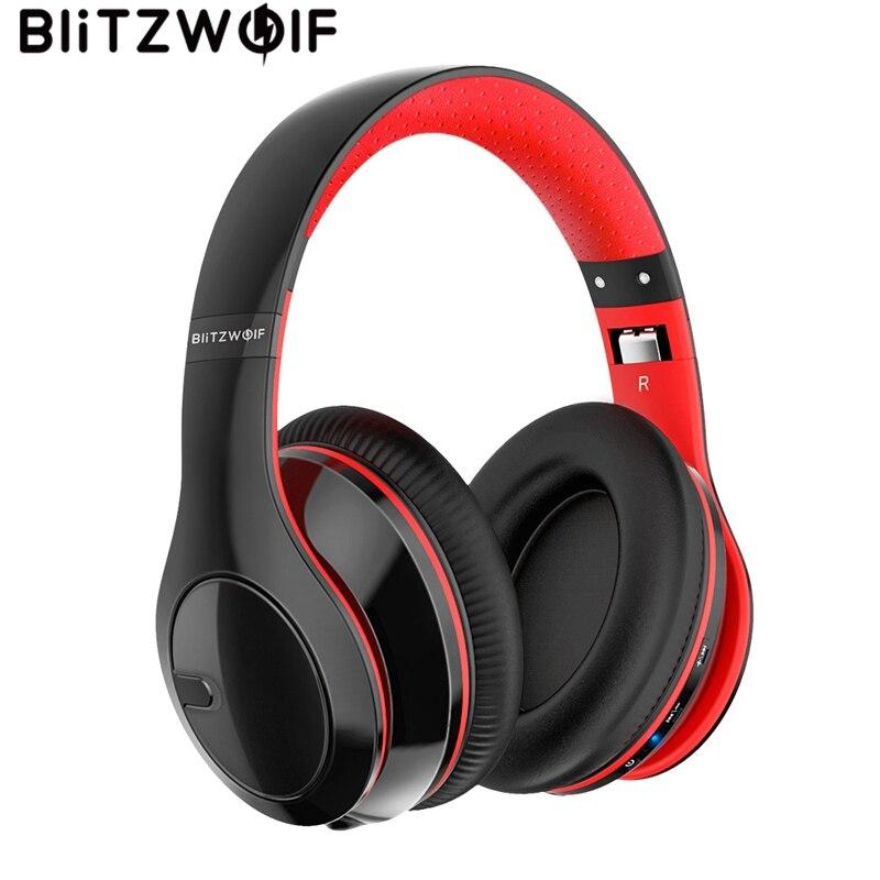 BlitzWolf casque sans fil bluetooth pliable stéréo sur l'oreille casque casque avec micro pour téléphones et tablette de musique