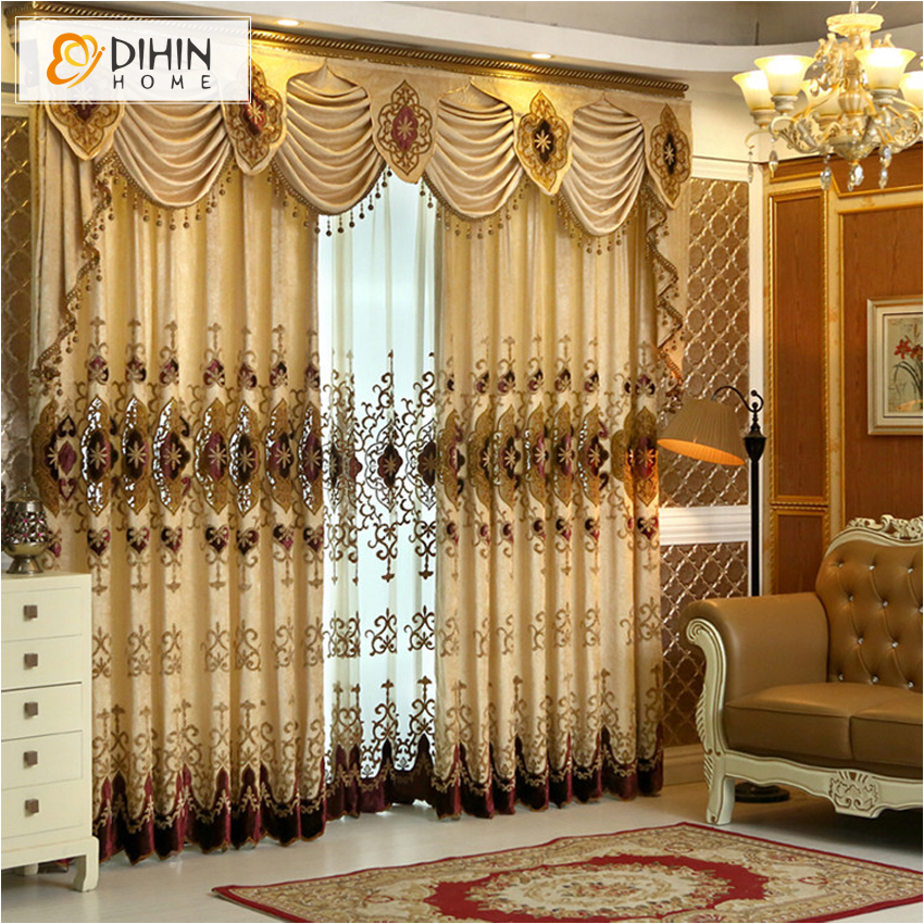 New Arrival europen beaded curtain valance embroidery curtains for living room luxury driped patch fabric
