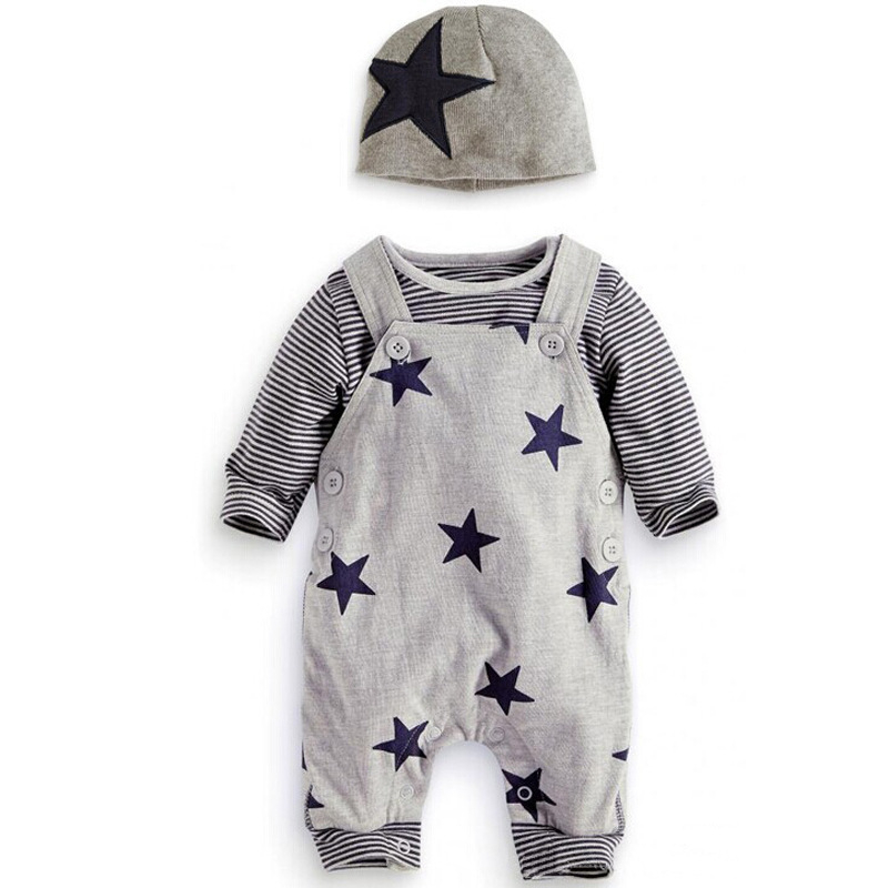 2017 Winter Baby clothing 3PCS Set Newborn baby Lovely Stripe Long Sleeve T-shirt Top Stars pattern costumes suits Hat Outfits