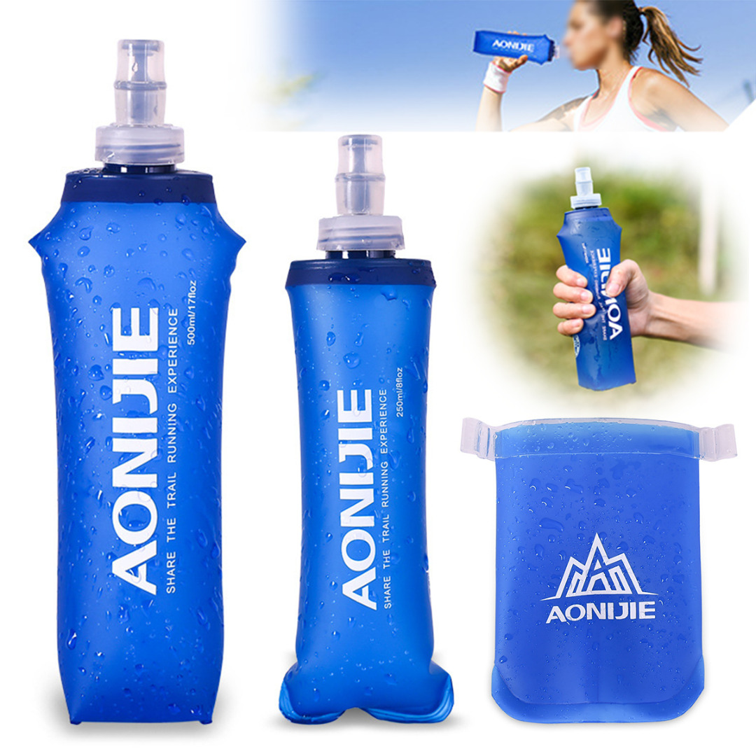 2018 New 170/250/ 500ml TPU Outdoor Foldable Water Bag Soft Flask Squeeze Portable for Sport Running Drinking Water Bottle Bags