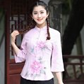 Pink Print Flower Chinese Women Tang Suit Tops Spring Summer Cotton Linen Thin Shirt Vintage Button Blouse Plus Size XXXL 2617